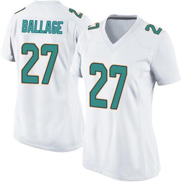Women's Nike Miami Dolphins Kalen Ballage White Jersey - Game