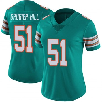 Women's Nike Miami Dolphins Kamu Grugier-Hill Aqua Alternate Vapor Untouchable Jersey - Limited