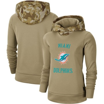 Women's Nike Miami Dolphins Khaki 2019 Salute to Service Therma Pullover Hoodie -
