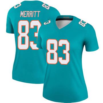 Women's Nike Miami Dolphins Kirk Merritt Aqua Jersey - Legend