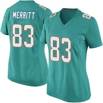 Women's Nike Miami Dolphins Kirk Merritt Aqua Team Color Jersey - Game