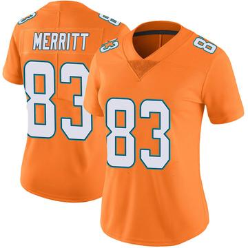 Women's Nike Miami Dolphins Kirk Merritt Orange Color Rush Jersey - Limited