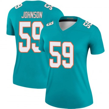 Women's Nike Miami Dolphins Kylan Johnson Aqua Jersey - Legend