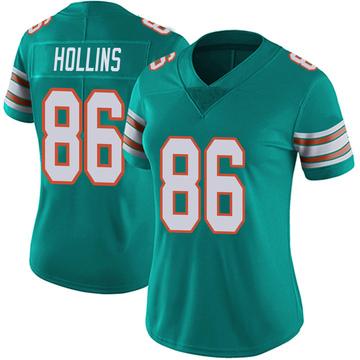 Women's Nike Miami Dolphins Mack Hollins Aqua Alternate Vapor Untouchable Jersey - Limited