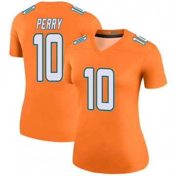 Women's Nike Miami Dolphins Malcolm Perry Orange Color Rush Jersey - Legend