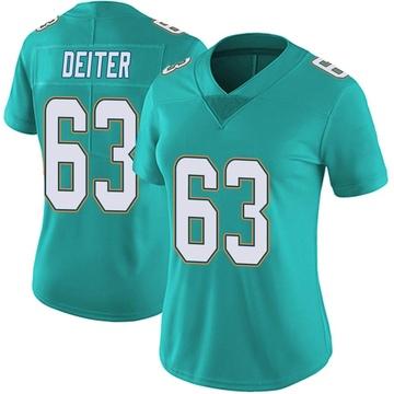 Women's Nike Miami Dolphins Michael Deiter Aqua Team Color Vapor Untouchable Jersey - Limited