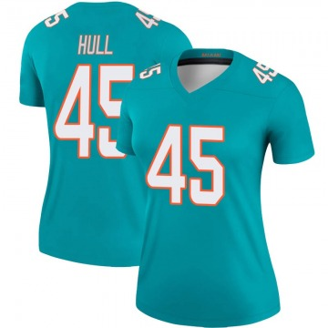 Women's Nike Miami Dolphins Mike Hull Aqua Jersey - Legend
