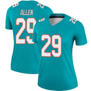 Women's Nike Miami Dolphins Nate Allen Aqua Jersey - Legend