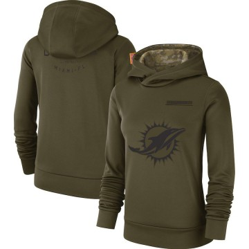 Women's Nike Miami Dolphins Olive 2018 Salute to Service Team Logo Performance Pullover Hoodie -