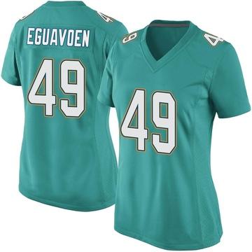 Women's Nike Miami Dolphins Sam Eguavoen Aqua Team Color Jersey - Game