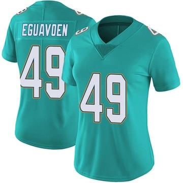 Women's Nike Miami Dolphins Sam Eguavoen Aqua Team Color Vapor Untouchable Jersey - Limited