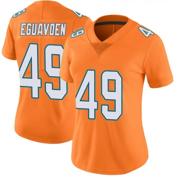 Women's Nike Miami Dolphins Sam Eguavoen Orange Color Rush Jersey - Limited