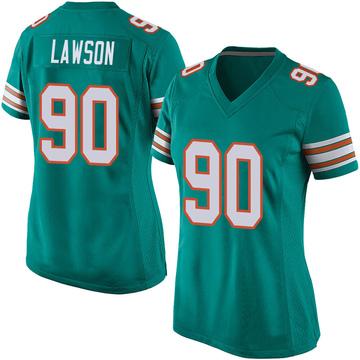 Women's Nike Miami Dolphins Shaq Lawson Aqua Alternate Jersey - Game