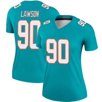 Women's Nike Miami Dolphins Shaq Lawson Aqua Jersey - Legend