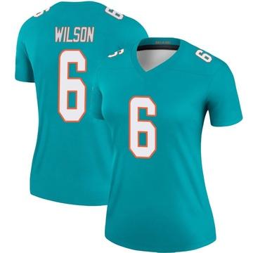 Women's Nike Miami Dolphins Stone Wilson Aqua Jersey - Legend