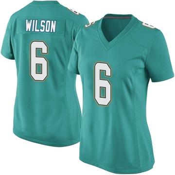 Women's Nike Miami Dolphins Stone Wilson Aqua Team Color Jersey - Game