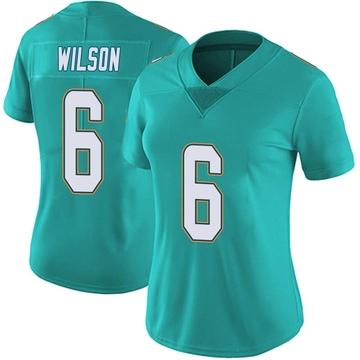 Women's Nike Miami Dolphins Stone Wilson Aqua Team Color Vapor Untouchable Jersey - Limited