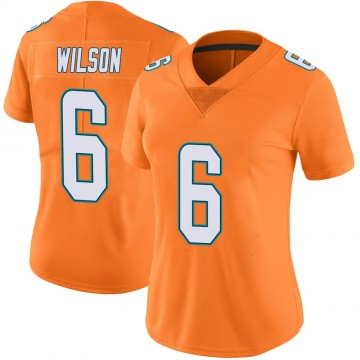 Women's Nike Miami Dolphins Stone Wilson Orange Color Rush Jersey - Limited