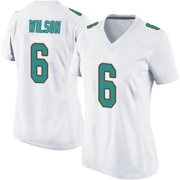 Women's Nike Miami Dolphins Stone Wilson White Jersey - Game