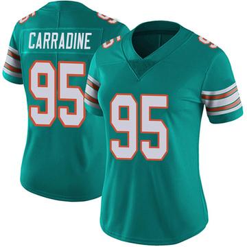 Women's Nike Miami Dolphins Tank Carradine Aqua Alternate Vapor Untouchable Jersey - Limited