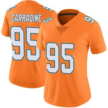 Women's Nike Miami Dolphins Tank Carradine Orange Color Rush Jersey - Limited