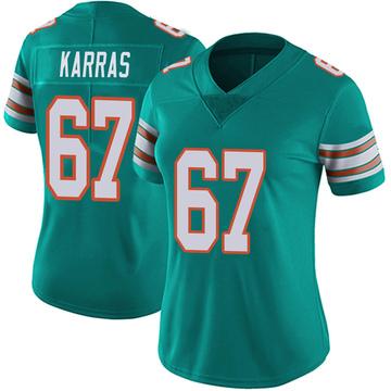 Women's Nike Miami Dolphins Ted Karras Aqua Alternate Vapor Untouchable Jersey - Limited