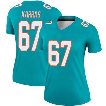 Women's Nike Miami Dolphins Ted Karras Aqua Jersey - Legend