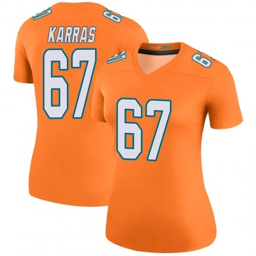 Women's Nike Miami Dolphins Ted Karras Orange Color Rush Jersey - Legend