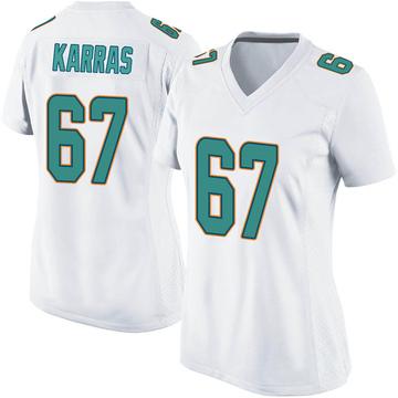 Women's Nike Miami Dolphins Ted Karras White Jersey - Game