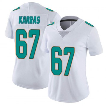 Women's Nike Miami Dolphins Ted Karras White limited Vapor Untouchable Jersey -