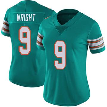 Women's Nike Miami Dolphins Terry Wright Aqua Alternate Vapor Untouchable Jersey - Limited