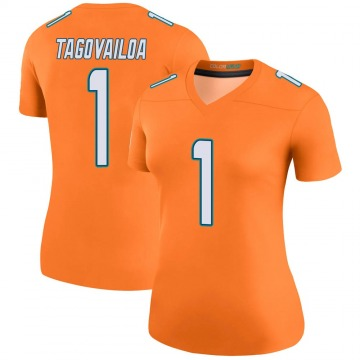 Women's Nike Miami Dolphins Tua Tagovailoa Orange Color Rush Jersey - Legend
