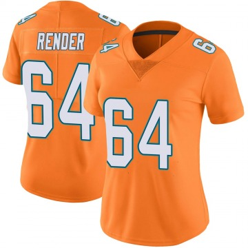 Women's Nike Miami Dolphins Tyshun Render Orange Color Rush Jersey - Limited