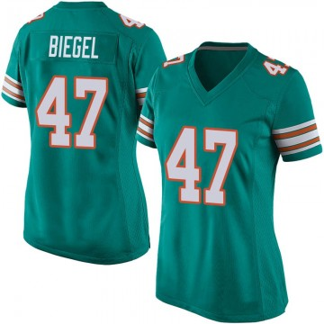 Women's Nike Miami Dolphins Vince Biegel Aqua Alternate Jersey - Game