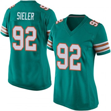 Women's Nike Miami Dolphins Zach Sieler Aqua Alternate Jersey - Game