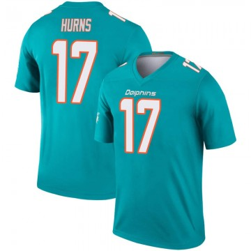 Youth Nike Miami Dolphins Allen Hurns Aqua Inverted Jersey - Legend