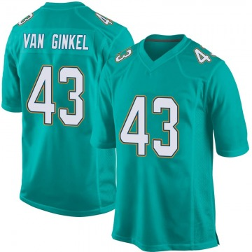 Youth Nike Miami Dolphins Andrew Van Ginkel Aqua Team Color Jersey - Game