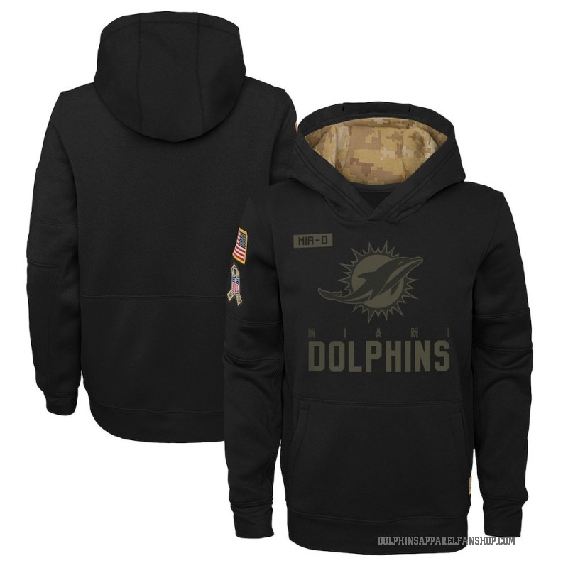Youth Nike Miami Dolphins Black 2020 Salute to Service Pullover Performance Hoodie -