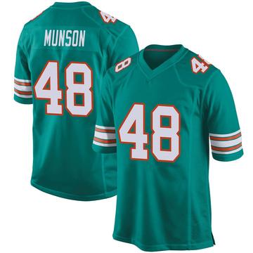 Youth Nike Miami Dolphins Calvin Munson Aqua Alternate Jersey - Game