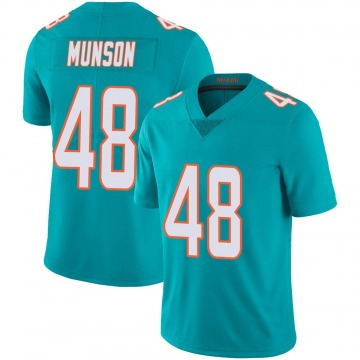 Youth Nike Miami Dolphins Calvin Munson Aqua Team Color 100th Vapor Untouchable Jersey - Limited