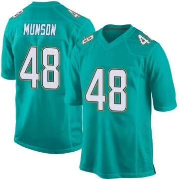 Youth Nike Miami Dolphins Calvin Munson Aqua Team Color Jersey - Game
