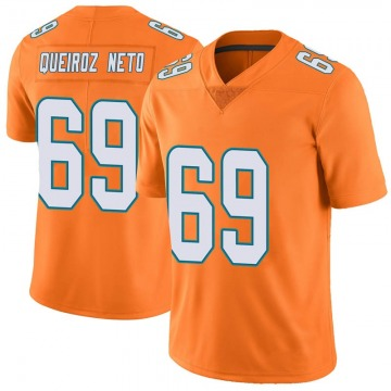 Youth Nike Miami Dolphins Durval Queiroz Neto Orange Color Rush Jersey - Limited