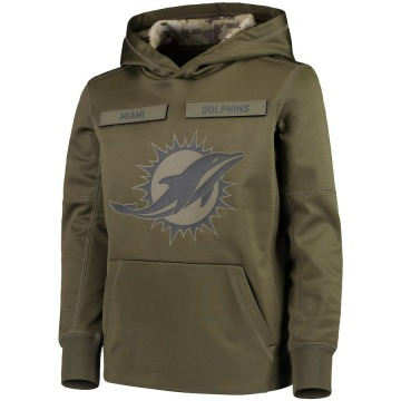 Youth Nike Miami Dolphins Green 2018 Salute to Service Pullover Performance Hoodie -