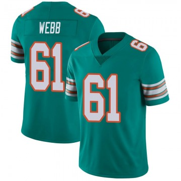Youth Nike Miami Dolphins J'Marcus Webb Aqua Alternate Vapor Untouchable Jersey - Limited