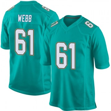 Youth Nike Miami Dolphins J'Marcus Webb Aqua Team Color Jersey - Game