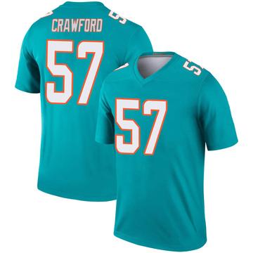 Youth Nike Miami Dolphins James Crawford Aqua Jersey - Legend