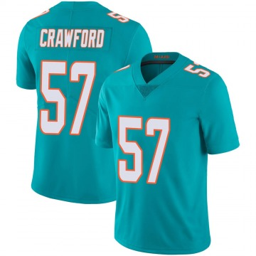 Youth Nike Miami Dolphins James Crawford Aqua Team Color 100th Vapor Untouchable Jersey - Limited