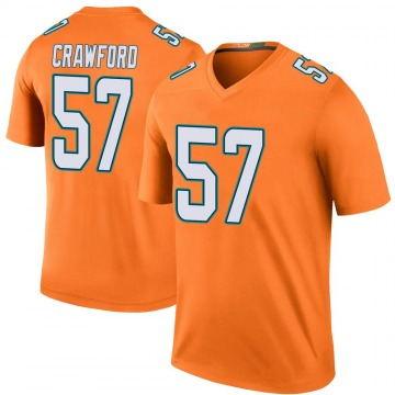 Youth Nike Miami Dolphins James Crawford Orange Color Rush Jersey - Legend