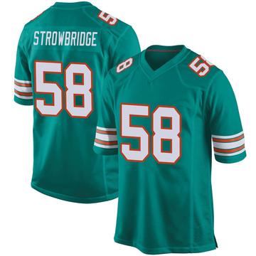 Youth Nike Miami Dolphins Jason Strowbridge Aqua Alternate Jersey - Game