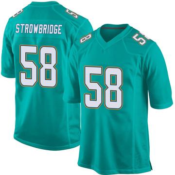 Youth Nike Miami Dolphins Jason Strowbridge Aqua Team Color Jersey - Game